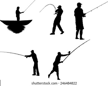 The set of 5 fisherman silhouette
