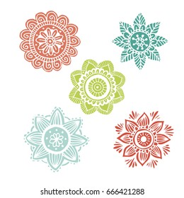 Set of 5 flower mandala in hand drawn style for prints, fabric and tattoo. Vector illustration. Isolated on white