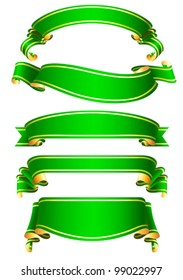 set of 5 green ribbon banners
