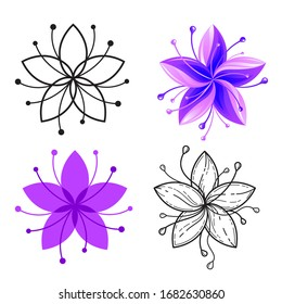 Set of 5 petal flower icons isolated on white. Line, flat and gradient styles. Black and white, purple colors. Vector art for fashion, beauty, spa, floral store brand identity, coloring book design.