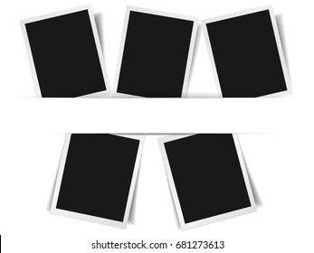 Set of 5 photo frame album collection effect with shadows and central paper stripe for copy space vector EPS10 illustration on white background.