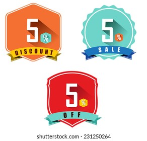 Set of 5% sale and discount, long shadow flat color design, 5 off - vector eps10