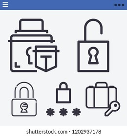 Set of 5 security outline icons such as password, lock, unlock