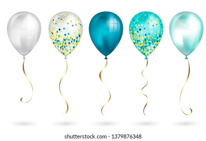 Set of 5 shiny realistic 3D teal helium balloons for your design. Glossy balloons with glitter and gold ribbon, perfect decoration for birthday party brochures, invitation card or baby shower.