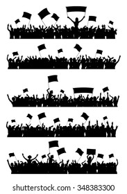 A set of 5 silhouettes of cheering or protesting crowd with flags and banners.