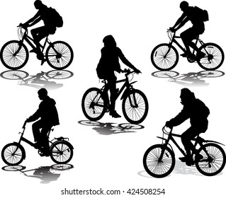 Set of 5 silhouettes of the cyclist