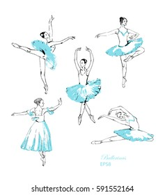 Set of 5 sketched ballerinas performing dance. For your design.