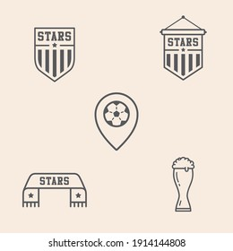 Set of 5 soccer - football icons with Team Shields, locator with ball, fan scarf and beer. Ready to use in multiple places like websites, apps, shops, videos, games, sport equipment among others.