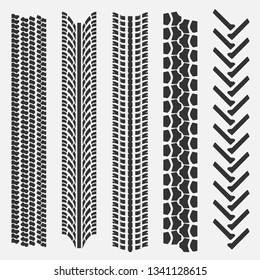 Set of 5 tire treads. Seamless texture. Vector illustration.