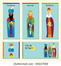 Set of 5 universal spanish language Christmas greeting cards with three kings. Feliz dia de reyes. (Happy Three Kings Day!). Three wise men. Template. Vector illustration.