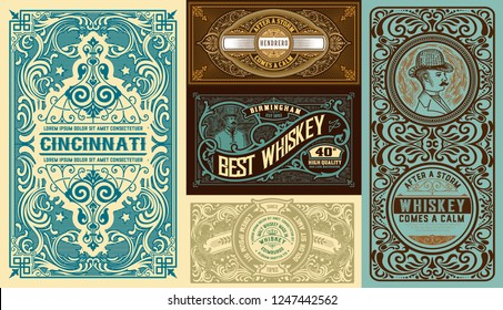 Set of 5 Vintage labels. Vector layered