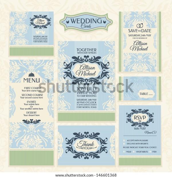 Set 5 Wedding Cards Wedding Invitations Stock Vector Royalty Free