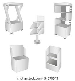 set of 5 white display. vector illustration