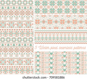 set of 5 winter pixel seamless patterns retro vector christmas cross stitch background christmas
