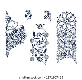 Set of 5 wood block printed floral elements. Traditional oriental ethnic motifs of India, monochrome on white background. For your design of  ornamental patterns or borders.