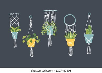 Set of 5 woven macrame plant hangers. Retro style decoration objects. Vector illustration.