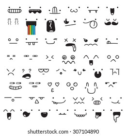 Set of 50 different pieces of doddle emotions to create characters. Emotion for design handmade. Anime. Anger and joy. Surprised and hurt. Indifference and shock. Laughter and tears