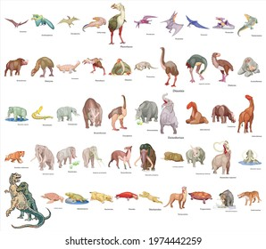 Set of 50 dinosaur with names