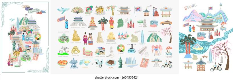 set of 50 doodle vector illustration - sights of South Korea travel collection, lovely flat style korean attractions