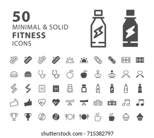 Set of 50 Fitness Minimal and Solid Icons . Vector Isolated Elements