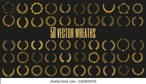 Set of 50 golden vector laurel wreaths on black background. Set of foliate award wreath for film festival.Vector illustration.
