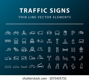 Set of 50 High Quality Universal Standard Minimal Simple White Thin Line Traffic Signs Icons on Dark Background