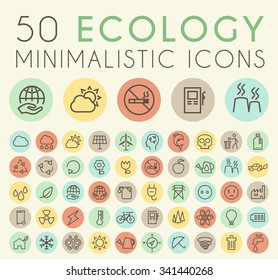 Set of 50 Isolated Universal Minimal Simple Vintage Thin Line Ecology Icons on Circular Color Buttons.