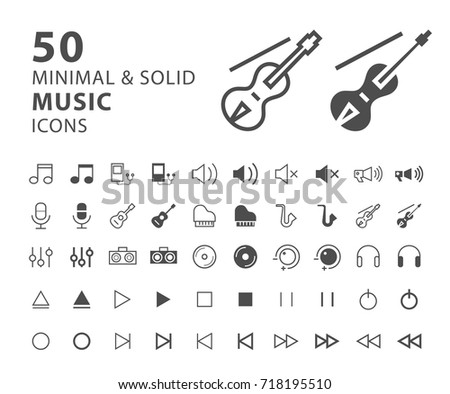 Set 50 Minimal Solid Music Icons Stock Vector (Royalty Free