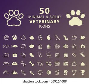 Set of 50 Minimal and Solid Veterinary Icons. Vector Isolated Elements.