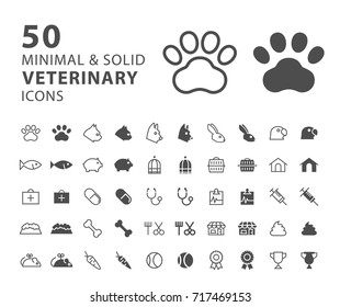 Set of 50 Minimal and Solid Veterinary Icons on White Background . Vector Isolated Elements