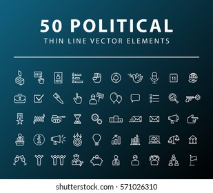 Set of 50 Minimal Thin Line Political Icons on Dark Background. Isolated Vector Elements.