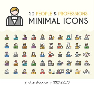 Set of 50 Minimalistic Solid Line Coloured People and Professions Icons. Isolated Vector Elements.