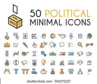 Set of 50 Minimalistic Solid Line Coloured Political Icons . Isolated Vector Elements