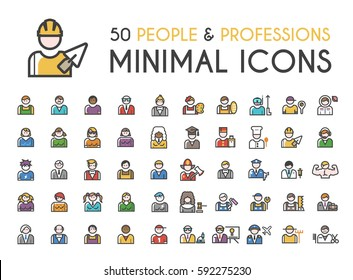 Set of 50 Minimalistic Solid Line Coloured People and Professions Icons . Isolated Vector Elements