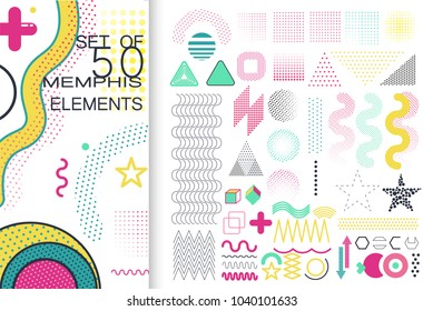 Set of 50 shiny colorful memphis style elements. Can be used on flyers banners web. Trendy memphis 80's and 90's design. Geometric grunge patterns. Fashion minimal pop memphis backgrounds. EPS 10.