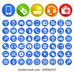 Set of 50 Standard Quality Technology Icons with Circular Colored Buttons on White Background.