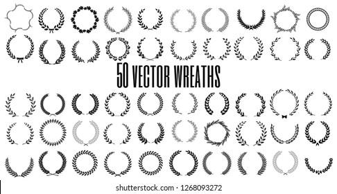 Set of 50 vector laurel wreaths on white background. Set of foliate award wreath for film festival.Vector illustration.