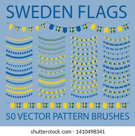 Set of 50 vector pattern brushes. Outer, inner corners and start, end tiles included. Garland of swedish flags. Sweden. Yellow, blue.