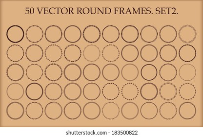 Set of 50 vector round frames in different styles. Set 2.