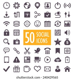 Set of 50 vector social and media icons