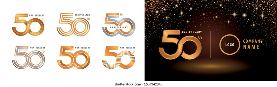 Set of 50th Anniversary logotype design, Fifty years Celebrating Anniversary Logo silver and golden for celebration event, invitation, greeting, Infinity logo vector illustration, web template, flyer