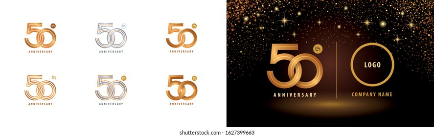 Set of 50th Anniversary logotype design, Fifty years Celebrating Anniversary Logo silver and golden for celebration event, greeting, Infinity loop logo, Abstract circle weave, unite, harmony, together