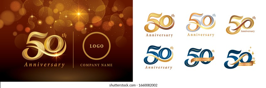 Set of 50th Anniversary logotype design, Fifty years Celebrate Anniversary Logo silver and golden, Vintage and Retro Script Number Letters, Elegant Classic Logo for Congratulation celebration event