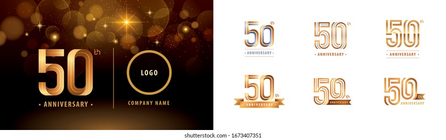 Set of 50th Anniversary logotype design, Fifty years Celebrate Anniversary Logo multiple line for Congratulation celebration event,invitation, greeting,Flyer,booklet,Abstract silver and golden logo