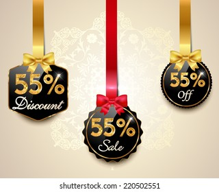 Set of 55% sale and discount golden labels with red bows and ribbons Style Sale Tags Design, 55 off - vector eps10