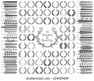Set of 55 Wreaths and branches. Vector illustration. Wreath collection II.
