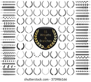 Set of 55 wreaths and branches. Vector illustration. Wreaths collection VI.