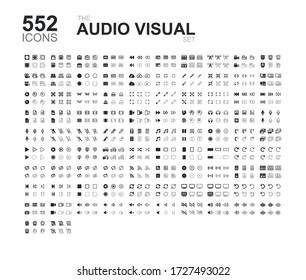 Set of 552 audio and visual icons, camera, microphone, drones & much more - In 6 styles.