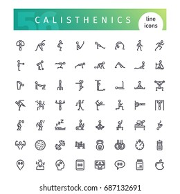 Set of 56 calisthenics line icons suitable for web, infographics and apps. Isolated on white background. Clipping paths included.