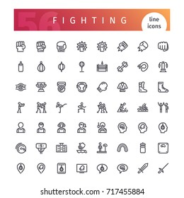 Set of 56 fighting line icons suitable for web, infographics and apps. Isolated on white background. Clipping paths included.